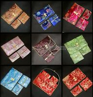 Lots 6Set/18pcs SILK WALLET MIX Floral Travel Coin Purse Tissue Cover Case Bags
