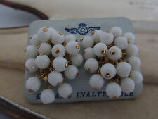 Vintage Milk Glass Cluster Gold Tone Earrings On Original Card~Bridal~(16443-2)