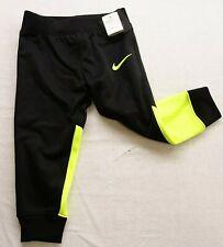 Nike Toddlers 2T Girls Athletic Black Neon Green Dri-Fit Swoosh Pants 1-2 New