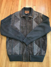 Vintage Campus Suede Sweater Jacket Mens Xl Tan Brown Rockabilly Mod Hipster