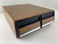 Vintage Cassette Drawer Storage Case Holds 28 Total Tapes Wood Grain Finish