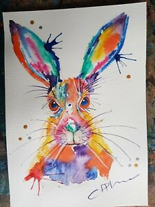 Colourful Hare Original Watercolour Ink Painting Wildlife Art A4