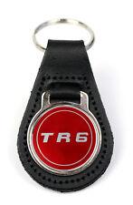 Triumph TR6 Red Logo Quality Black Leather Keyring