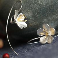 Flower Long Tassel Earrings For Women Process Elegant Lady silver jewelry Sale