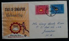 SCARCE 1962 Singapore National Day FDC ties 2 stamps to Jesselton Malaysia