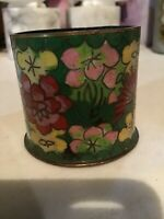 Antique Chinese Qing / Republic Green Cloisonne Match Holder w Floral Decoration