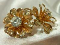Vintage 60's 3D Pronged Rhinestone Gold Tone Screw Back Flower Earrings 182F9