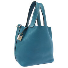 HERMES Picotin Lock PM Hand Bag Purse Light Blue Taurillon Clamence VP⬜Q JT08970