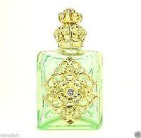 Gold Tone Flower Filigree Vintage Spring Green Perfume Bottle Crystal Gift