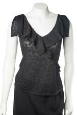 NWOT St. John Black Knit Ruffled Sleeveless V-neck M Medium Tank Top Cami Lace