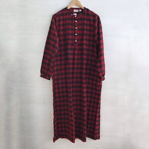 "NWT L.L. Bean - ""Rob Roy"" Pintuck Red Scotch Plaid long flannel night gown, M"