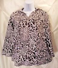 ZENERGY by CHICOS BLACK/WHITE Leopard Print Zipper Hoodie Hooded Jacket 1