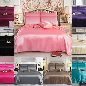 6PIECES SILK SATIN COMPLETE BEDDING SET FITTED SHEET 4 PILLOW CASE DUVET COVER