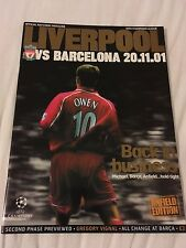 Liverpool V Barcelona 2001 champions league programme