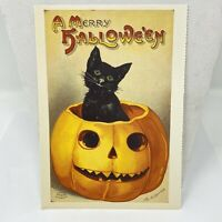 Vintage Postcard A Merry Halloween 1988 Black Cat Pumpkin
