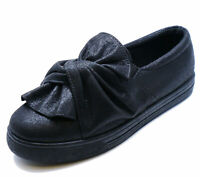 LADIES FLAT BLACK SLIP-ON PLATFORM PLIMSOLLS CASUAL PUMPS COMFY SHOES UK 3-8