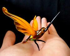 "MURANO ITALY STYLE 2.4"" orange ART GLASS figurine HUMMINGBIRD BIRD ornament"