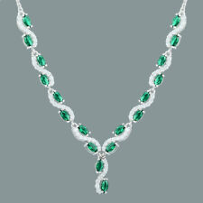 18K White Gold Gp Marquise&Round Green Emerald CZ Clear Topaz Choker Necklace