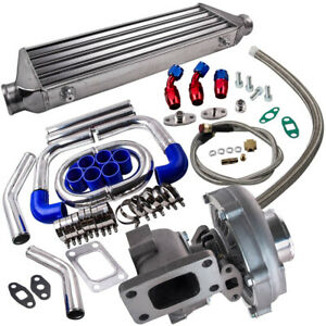 T04E T3/T4 A/R 0.63 400+HP BOOST TURBO W/Oil Line+Intercooler +Piping Pipe Kits
