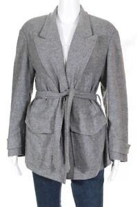 Dries Van Noten Womens Wool Long Sleeve Notch Collar Coat Grey Size Medium
