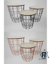 MODERN INDUSTRIAL METAL CAGE WIRE SET OF THREE NESTING TABLES TABLE COPPER BLACK