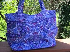 VERA BRADLEY PLEATED TOTE Bag Large Purse Lilac Tapestry Shopping Travel College