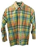Orvis Signature Collection Men's Medium Plaid Autumn Colors Long Sleeve Shirt