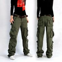 Women Lady Cargo Hip Hop Trousers Pants Loose Outdoor Military Pocket Casual New