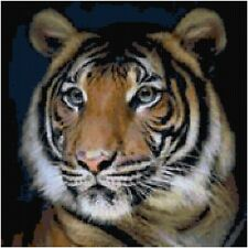 Cross Stitch Chart Pattern Graph Tiger Portrait Needlework Aida Picture Design