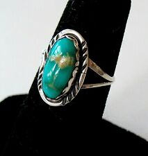 Vintage Navajo Sterling Silver Oval Turquoise Ring -- Size 6 -- Excellent Cond.