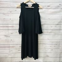 Philosophy Black Cold Shoulder Dress Size Small 3/4 Bell Sleeves Knee Length New