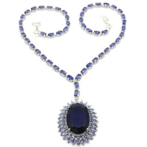 """68x37mm Awesome Big Heavy Pendant 37g Iolite Dating Silver Necklace 17.5-18.5"""""""