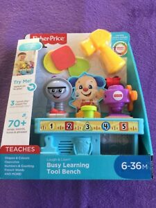 FISHER PRICE LAUGH & LEARN BUSY LEARNING TOOL BENCH. AGE SUITABILITY 6 MONTHS +