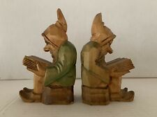 Italian Antique Wooden Handcarved/Handpainted Gnome Bookends (Set of 2)