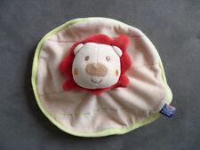 Doudou SUCRE D ORGE lion plat rond beige orange vert rouge
