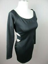 bebe Size M Womens Black Long Sleeve Scoop Neck Cutout Waist Stretch Dress 271