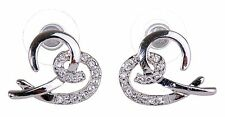Swarovski Elements Crystal Open Heart Pierced Earrings Rhodium Plated New 7105x