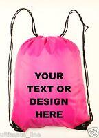 Personalised Pink Drawstring Bag Sack Gym PE Swim Gym  School Print Waterproof