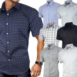 Mens Short Sleeve Shirt Formal Casual Cotton Stripe Check Plain S- 4XL Plus Size