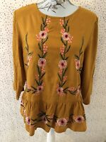 Brand New New Look Mustard Frill Floral Embriodered Tunic Top Blouse Size 14