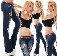 femmes hanche pantalon jeans pattes d'éléphant bootcut denim LOOK Destroyed