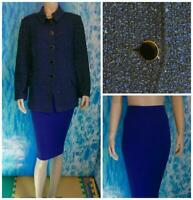 ST JOHN Collection Knits Blue Black Jacket Skirt L 12 14 2pc Suit Buttons Collar