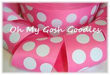 2 1/4 Hot Pink White Princess Classic Jumbo Dots Easter Grosgrain Ribbon 4 Bow
