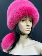 SALE! Fox Fur Pillbox Hat Saga Furs Regular Size Full Fox Raspberry Pink Hat