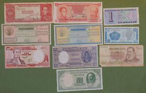 Billet Amérique - Bolivie, Colombie & Chili - lot de 10