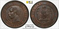 PCGS MS-63 FRANCE 10 CENTIMES 1855 -A DOG-CHIEN (RARE VARIETY!) POP: 3/1