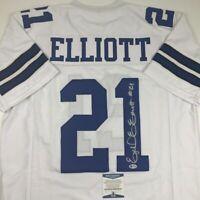 Autographed/Signed EZEKIEL ELLIOTT Dallas White Football Jersey Beckett BAS COA