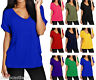 New Ladies Women's V Neck Top Turn Up Short Sleeve Baggy Loose T Shirt Size 8-30