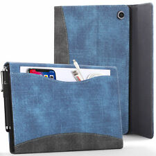 Apple iPad 10.2 2019 Case Cover Stand with Document Pocket - Blue + Stylus