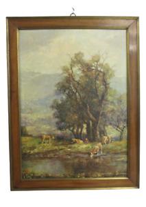 Quadro stampa dipinto mucche - metà  900 - cornice XVIII secolo noce